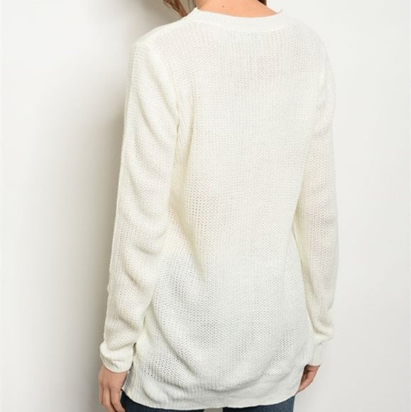 Front Lace-Up Cozy Sweater