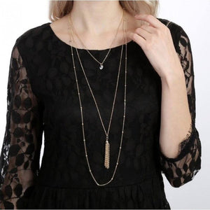Perfect Trio Layered Tassel Necklace (Gold)