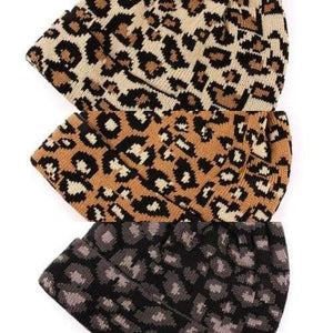 Leopard Pom Beanie Knit Winter Hat (Beige)