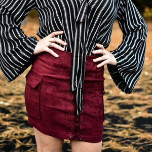 Brooklyn Lace-Up Vegan Suede Bodycon Mini Skirt (Burgundy)