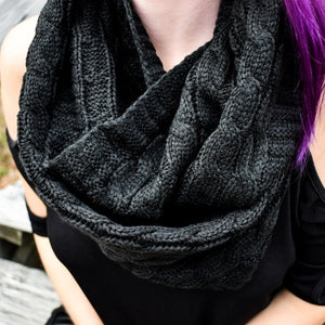 Cozy Knit Black Infinity Scarf
