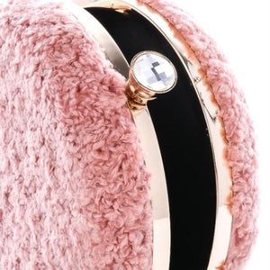 Gwen Fuzzy Circle Faux Fur Clutch (Black)
