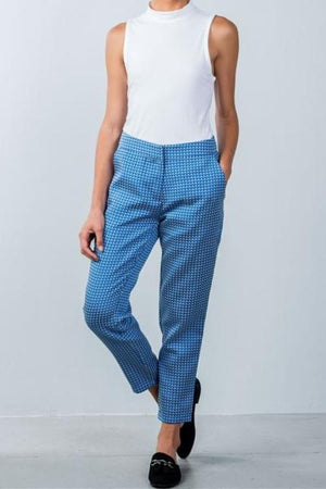 Pixie Blue Print Ankle Chino Pants
