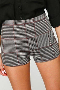 PLAID HIGH-WAISTED MINI SHORTS