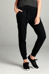 French Terry Drawstring Joggers (Black)