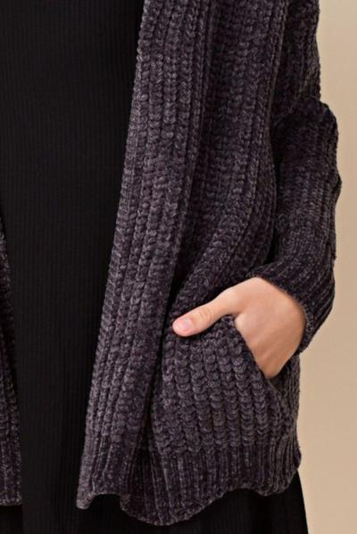 PREMIUM CHENILLE CHARCOAL CARDIGAN SWEATER