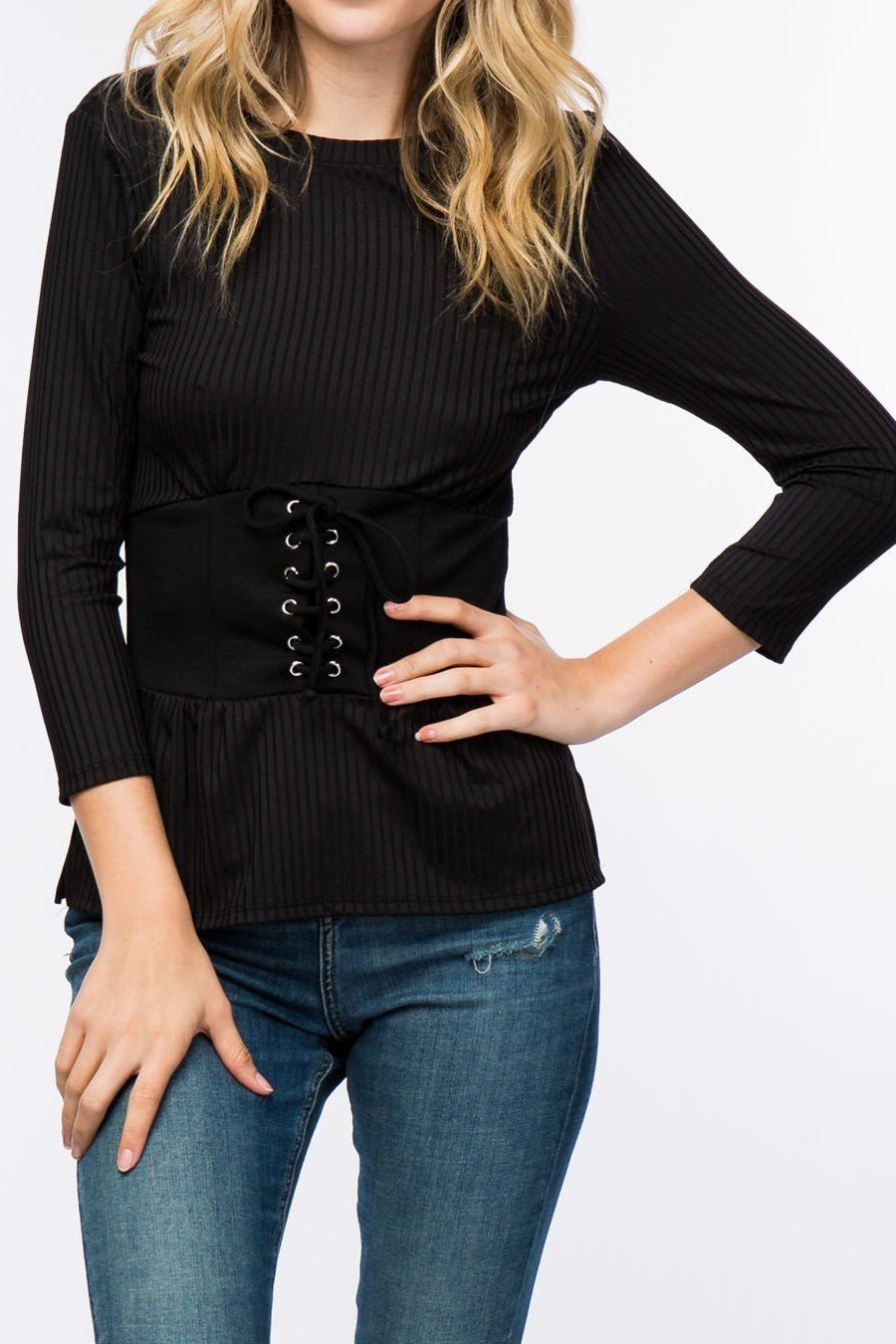 Ribbed Corset Lace-Up Top (Black)