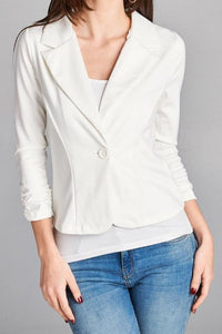 Button Stretch Knit Blazer (Off White)
