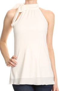 SELF-TIE CREPE SLEEVELESS BLOUSE (WHITE)
