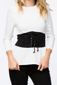 RIBBED CORSET LACE-UP TOP (WHITE)