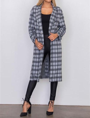 QUINN GRAY PLAID TAILORED LONG JACKET