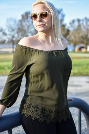 Crochet Hem Off the Shoulder Blouse