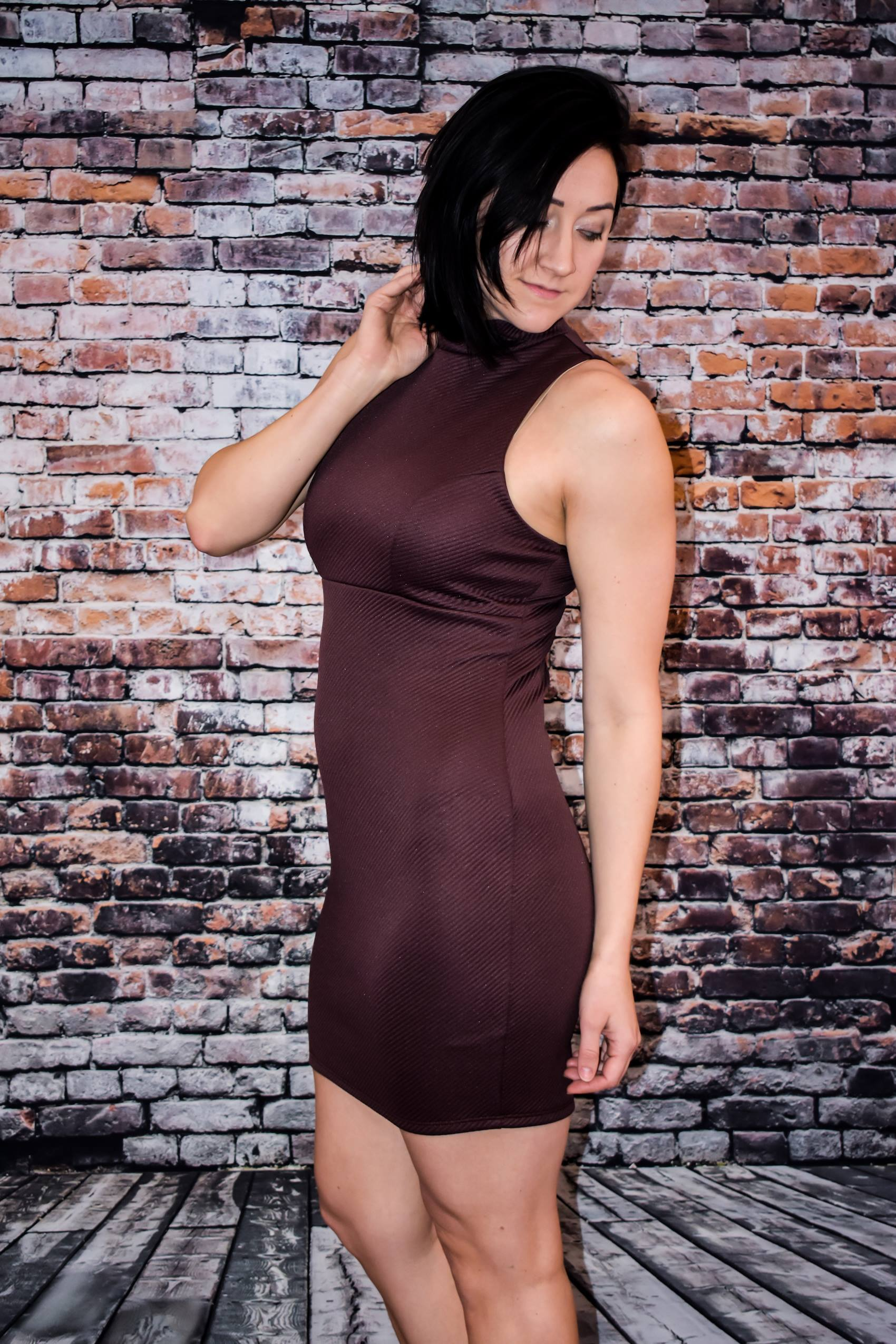 Bodycon Mock Neck Mini Dress (Mocha)