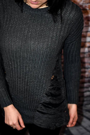 Frayed Round Neck Sweater (Charcoal)