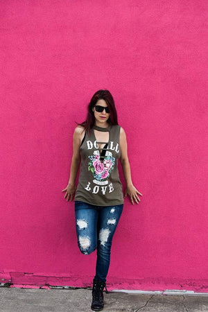 Doll Love Rose Ladder Muscle Tank