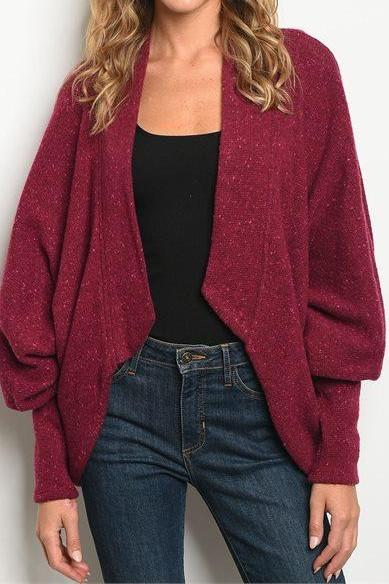 COZY WOOL DROP SHOULDER BURGUNDY CARDIGAN