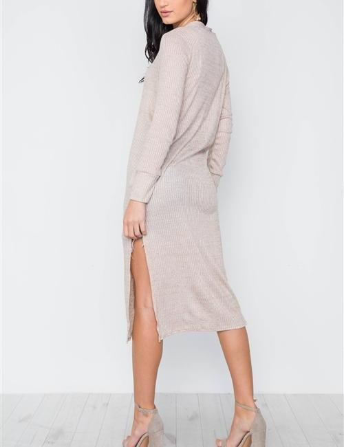 Carolina Long Slit Taupe Cardigan