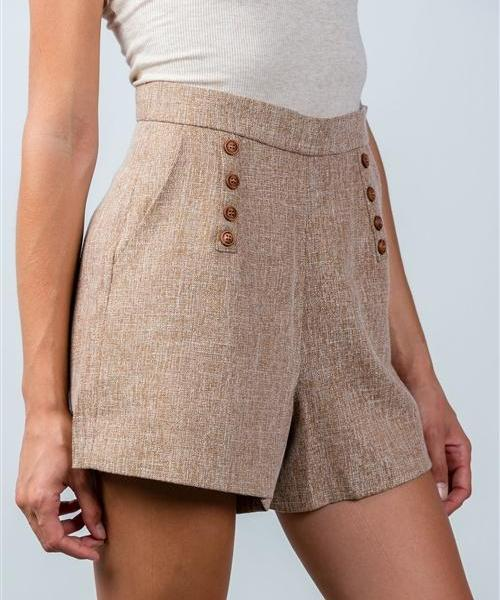 WALTHAM WOVEN TWEED BUTTON HIGH WAIST BROWN SHORTS