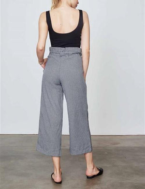 WINDSOR CROPPED TIE HIGH WAIST BLACK & WHITE PANTS