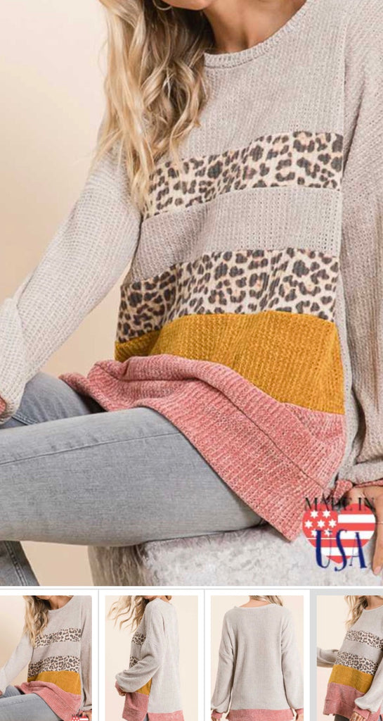 Leopard Color Block Sweatshirt
