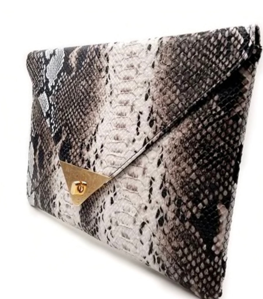 Vegan Leather Python Clutch/Cross body