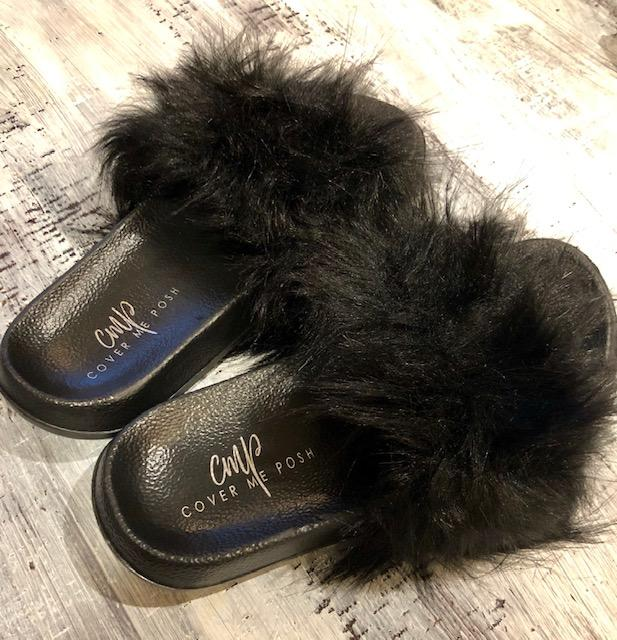 Faux Fur Slides (Black)