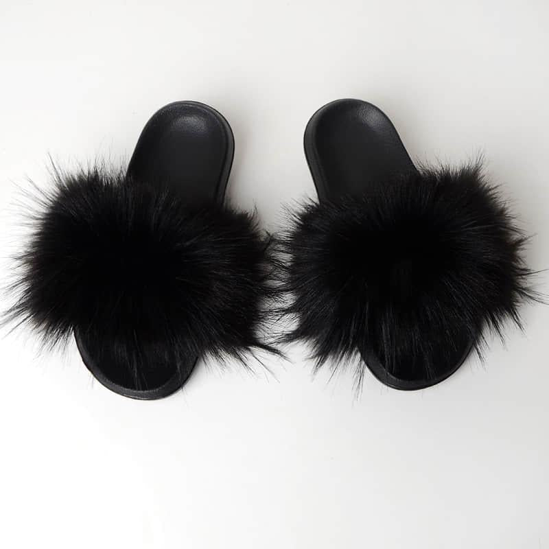 Black Slides (Faux Fur)