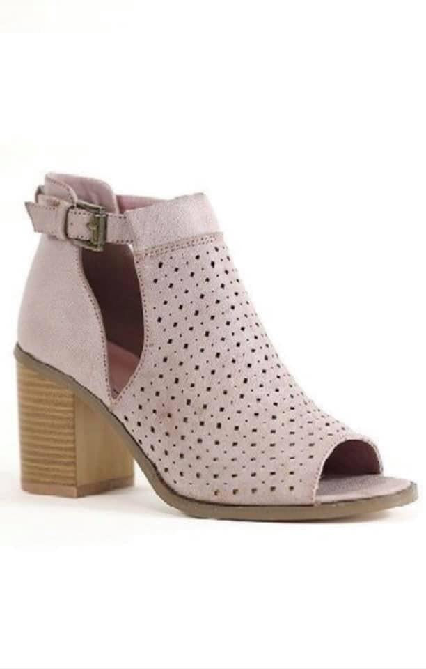 Open Toe Booties (Mauve)