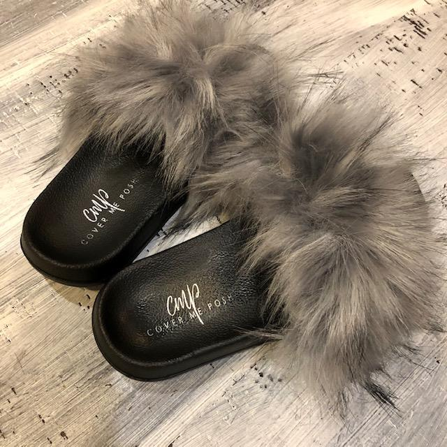 Faux Fur Slides (Grey)