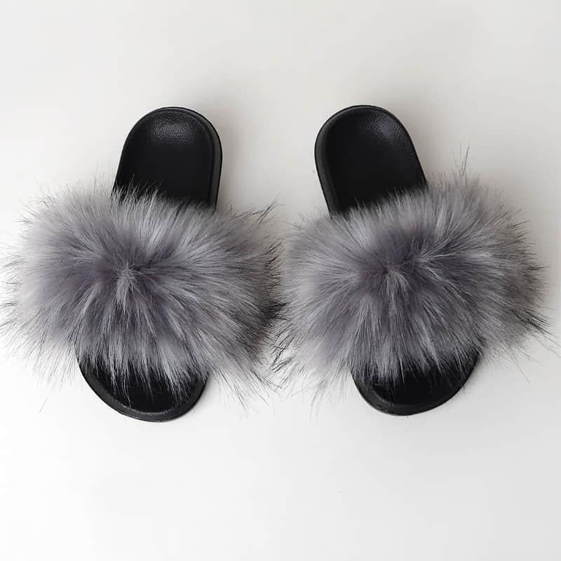Grey Slides (Faux Fur)