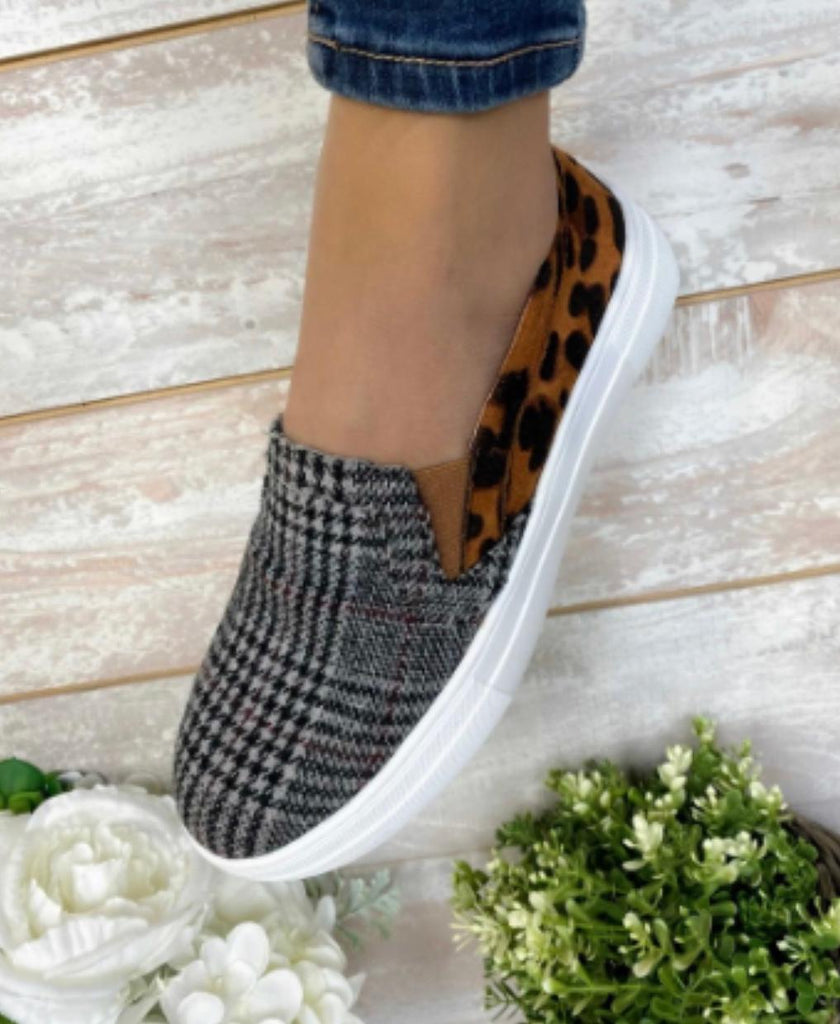 Plaid/Cheetah Slip Ons