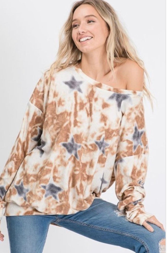 Star Print Terry Sweatshirt