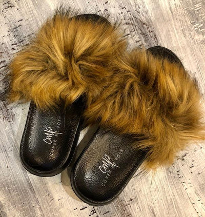 Faux Fur Slides (Tan/Brown)