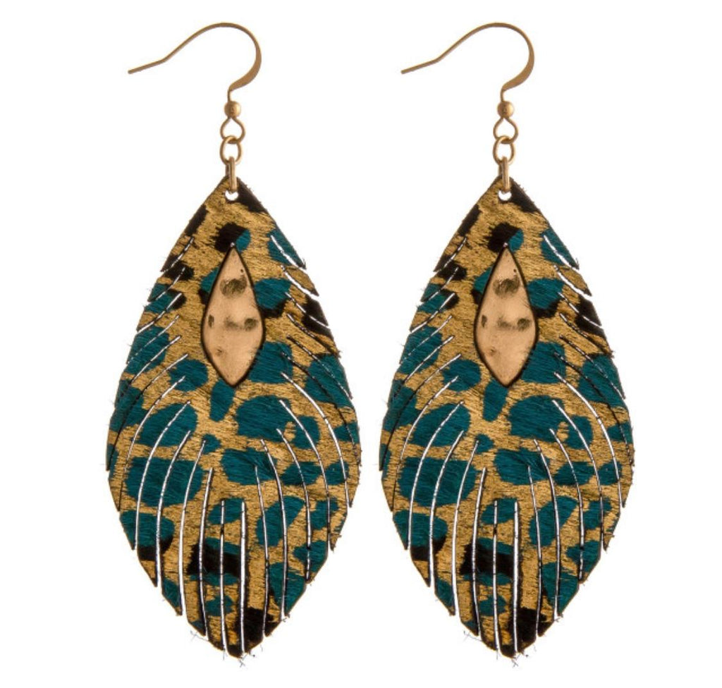 Teal/Gold Leather Earrings