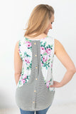 Calmly Floral Button Back Tank