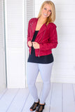 Seeing Red Faux Suede Jacket