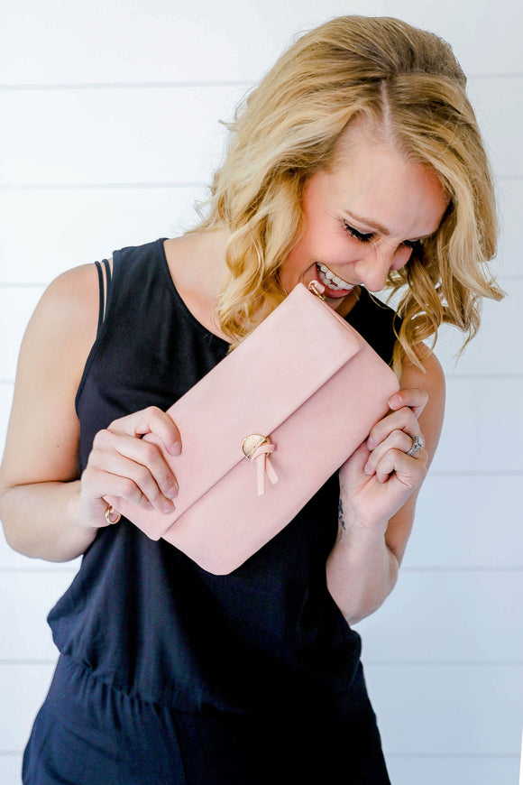 Light Pink Folding Clutch/Crossbody