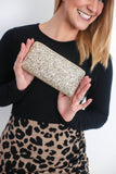 Gold Glitter Zip Wallet