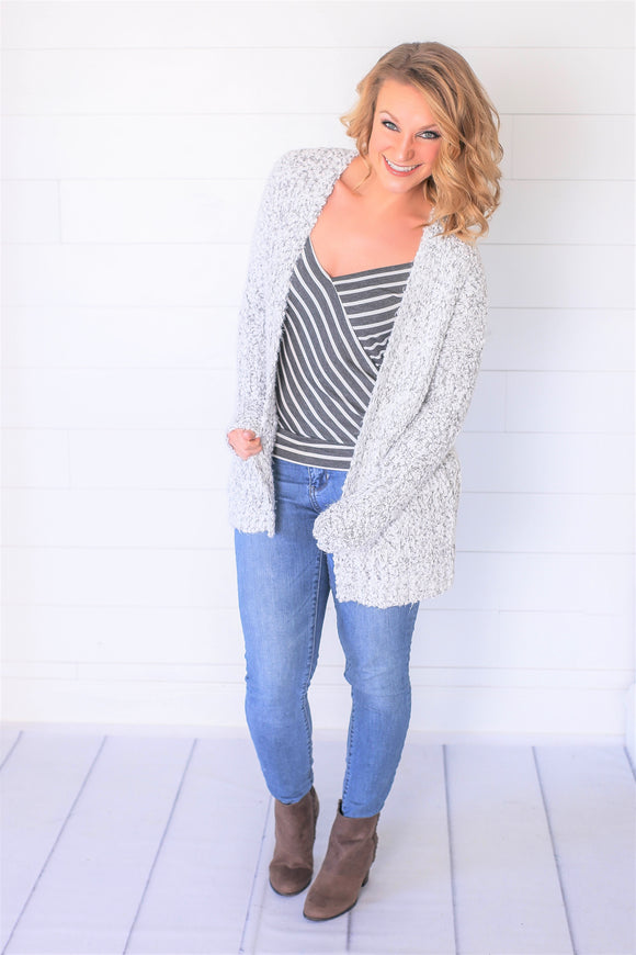 So Soft White/Grey Cardigan