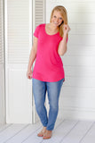 The Basics Hot Pink Criss Cross Tee