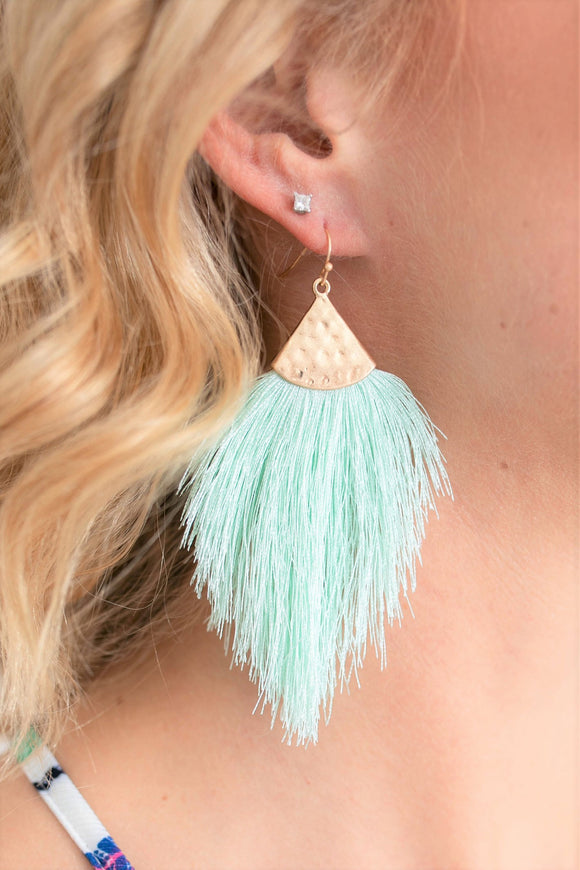 Fallon Tassle Earrings - Mint