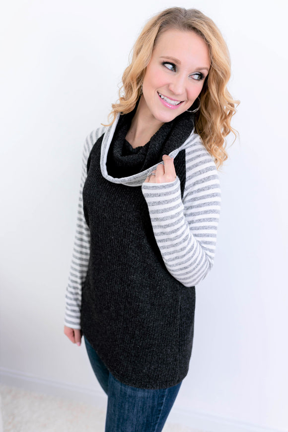 Striped Love Sweater - Light Grey