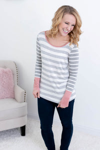 Pink & Grey All Day Long Sleeve Top