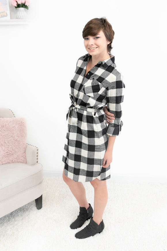 More Than Anyone Plaid Flannel dress