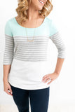 Mint/Grey 3/4 Sleeve Top