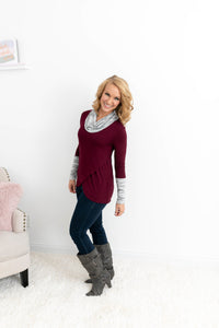Dark Red Cowl Neck Top