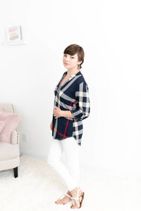 3/4 Sleeve Plaid Blouse