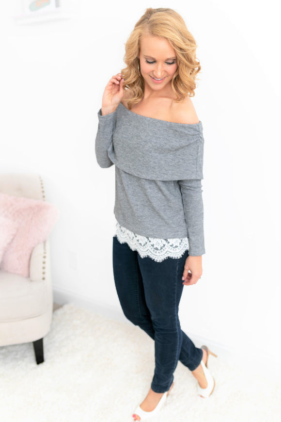 Grey Off-The-Shoulder Lace Top