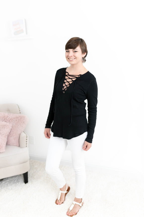 Black Lace Up Long Sleeve Tee