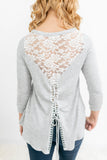 Lace Back 3/4 Sleeve Top